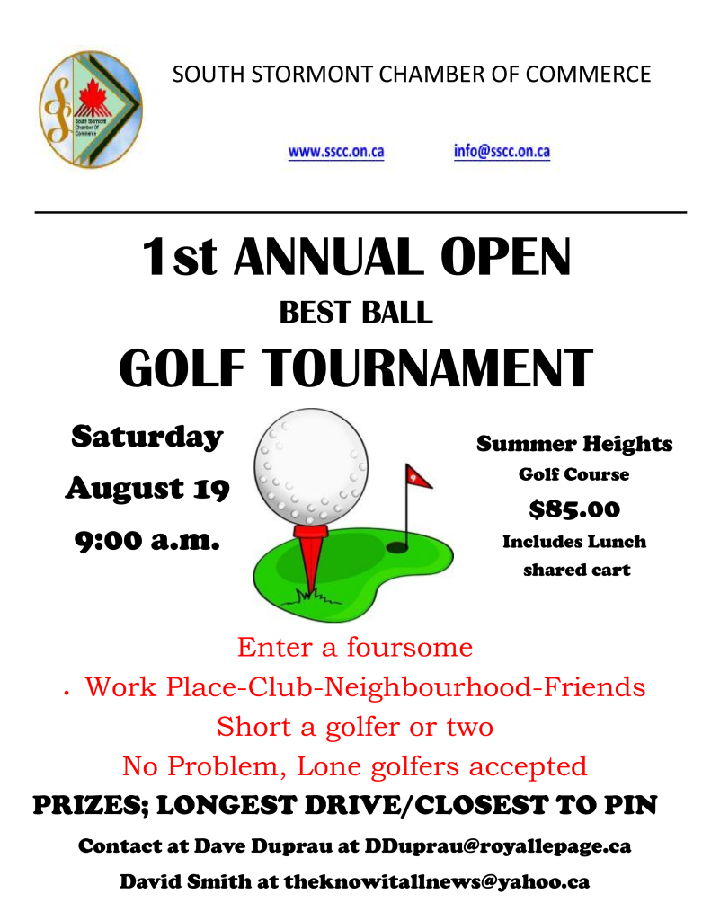 South Stormont Chamber of Commerce Golf Tournament Poster